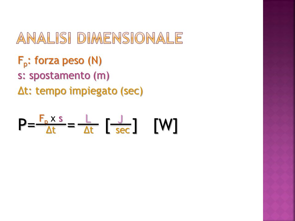 P= = [ ] [W] Analisi dimensionale Fp: forza peso (N)